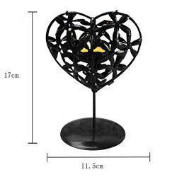 Valentine Candlestick, SUKEQ Heart Shape Hollowed Iron Stencil Candlestick Home Adornment Decora ...