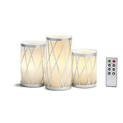 White Flameless Pillar Candles, Silver Metal Removable Holders, Real Wax, Set of 3, Warm White L ...