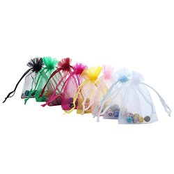 "Anleolife 60pcs Many Colors Sheer Organza Wedding Little Gift Bags 3.8×4.8"" Jewelry C ..."