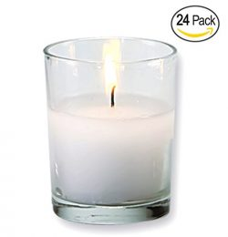 Set of 24 Votive Candles Clear Glass Wax Filled Unscented, Ideal for Restaurant, Wedding, Party, ...