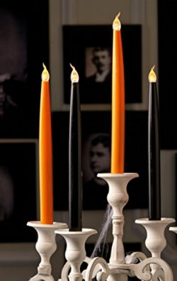 Halloween Flickering Flameless Child Pet Safe Candles LED 10″ Taper 4 Pc Set Orange &  ...
