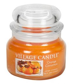 Village Candle Orange Cinnamon 11 oz Glass Jar Scented Candle, Small