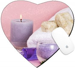 Luxlady Mousepad Heart Shaped Mouse Pads/Mat design IMAGE ID Spa set aroma candle salt oil and o ...