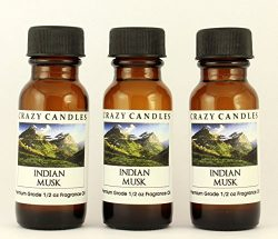 Indian Musk 3 Bottles 1/2 Fl Oz Each (15ml) Premium Grade Scented Fragrance Oil By Crazy Candles ...
