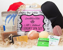 Spa Kit Relaxation Gift Set Two Bath Bombs, Bath Salt, All Natural Handmade Soaps, Konjac Sponge ...