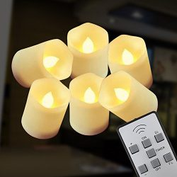 【Timer】Flickering Flameless LED Tea Light Candles,12-Batteries Included,300+ Working Hours, El ...