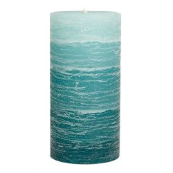 Teal Layered Rustic Pillar Candle – 3×6 inches – Unscented Handcrafted Candle b ...