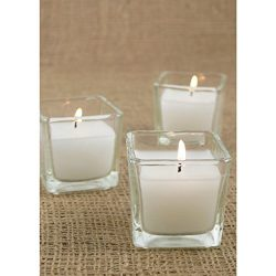 Serene Spaces Living 10-Hour White Unscented Cube Votive Candles in Set of 12 – Classic Clear Gl ...