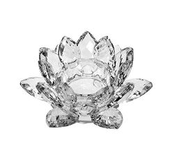 6 inch Centerpieces Crystal Lotus Candle Holder Display, Tealight Holders , Collectible Figurine ...