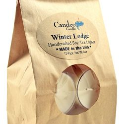 Winter Lodge, Scented Soy Tealights, 12 Pack Clear Cup Candles