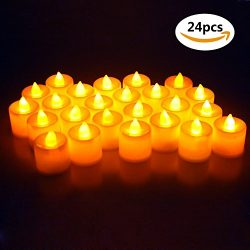 Moolecole Set of 24 Flameless Candles LED Tea Lights Battery Operated Realistic Fake Candles for ...