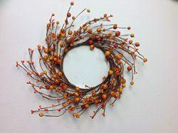 Mixed Orange Berry Candle Ring Decorative Fall Mini Wreath Interior Autumn Home Decor
