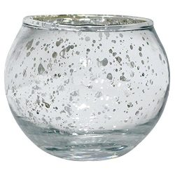 Just Artifacts Round Mercury Glass Votive Candle Holders 2″H Speckled Silver (Set of 12) & ...