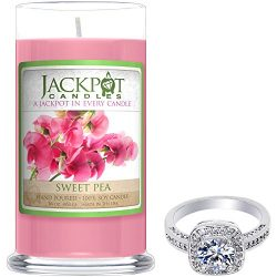 Sweet Pea Candle with Ring Inside (Surprise Jewelry Valued at $15 to $5,000) Ring Size 8