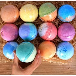 12 Bath Bombs Gift Set Super Large 5oz Each Best Gift Ideas for Women Teen Girls and Kids Handma ...