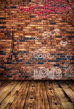 OFILA Love Backdrop 5x7ft Retro Brick Wall Eiffel Tower Photo Flowers Plank Floordrop Valentine& ...