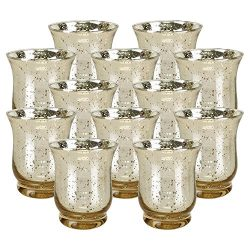 Just Artifacts Mercury Glass HurricaneVotiveCandle Holder 3.5″H(12pcs,Speckled Gold) & ...