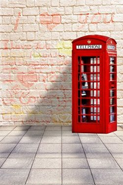 OFILA Love Theme Backdrop 3x5ft Telephone Booth Brick Wall Valentine's Day Background Love ...