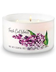 Bath and Body Works White Barn 3 Wick Low Profile Scented Candle Fresh Cut Lilacs 14.5 Ounce wit ...