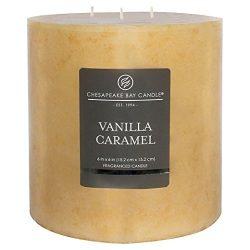 3-Wick Pillar Candle Vanilla Caramel 6″x6″