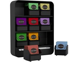 "Mind Reader ""Baggy"" Tea Bag holder and Condiment Organizer, Black"