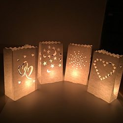 Aimyoo 20 Packs 4 Style Flame Resistant Luminary Paper Lantern Candle Bag Light Holder White for ...