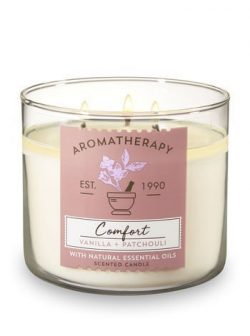 Bath and Body Works 3 Wick Scented Comfort Aromatherapy Candle Vanilla and Patchouli 14.5 Ounce  ...