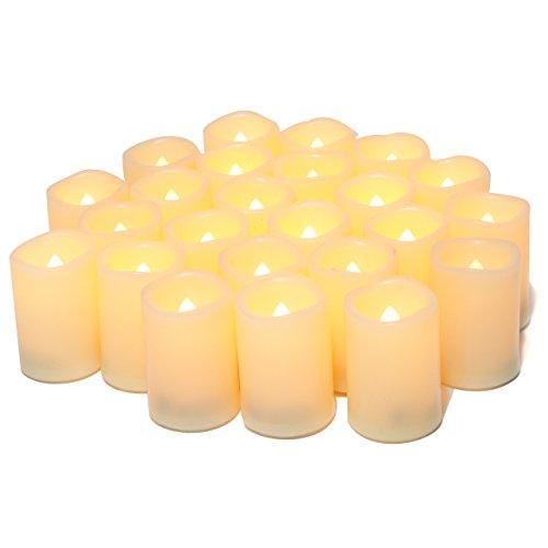 flameless flickering votive tea lights candles bulk battery operated set of 24 fake candles. Black Bedroom Furniture Sets. Home Design Ideas