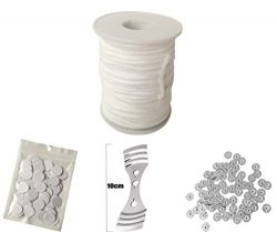 Homankit 24 Ply Braided Wicks 200 Feet Candle Wick for Candle Making with 100 pcs Candle Wick Su ...