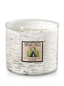 Bath and Body Works White Barn 3 Wick Candle Snowflakes and Citrus White Tree Barn Look Winter 2017