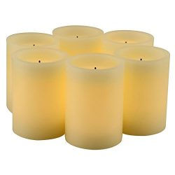 Set of 6 Real Wax Flameless LED Candles with 10-Key Remote Control and Timer Features LED Candle ...