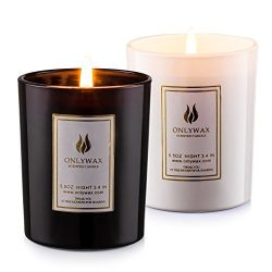 Scented Candles Lavender and Vanilla with Natural Essential Oils, 100% Eco-friendly Soy Wax Arom ...
