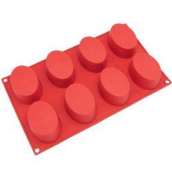 Freshware SL-118RD 8-Cavity Oval Silicone Mold for Soap, Cake, Bread, Cupcake, Cheesecake, Cornb ...