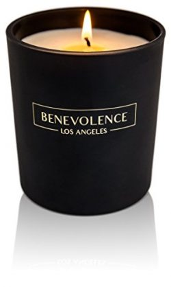 Scented Candle Aromatherapy Rose & Sandalwood: Strong Clean Fragrance Soy Wax Matte Black Gl ...