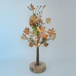 CVHOMEDECO. Battery Operated w/Timer Lighted Fall Tree Tabletop LED Light, 20 Warm White LEDs, R ...