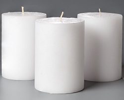 3″ x 4″ White Pillar Candles Unscented for Weddings, Home Decoration, Relaxation, Ch ...