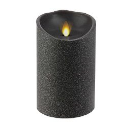 Liown Halloween Flameless Candle: Unscented Moving Flame Candle with Timer (5″ Black Glitter)