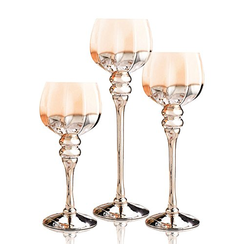 long stem glass candle holders set of 3 brown gold hexagon hurricanes for tealight votive and. Black Bedroom Furniture Sets. Home Design Ideas