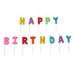 Party Time Molded Letter Birthday celebration Candles, Pack of 13, Multi Primary , 3″ Wax, ...