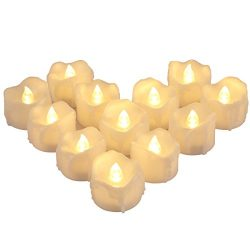 AMIR Flameless Candles, 12 PCS LED Tea Lights with Timer, Flickering Votive Candles for Christma ...