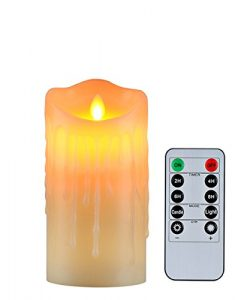 Flameless Candles with 10 Key Remote Timer Flickering Tear Wave Shaped Tealight 3×5″  ...
