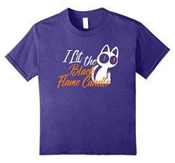 Kids Cute Hocus Pocus Black Lit Candle Cat Halloween Shirt 8 Purple