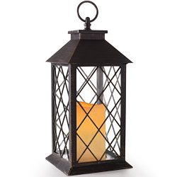 BRIGHT ZEAL 14″ TALL Vintage Candle Lantern with LED Flickering Flameless Candles and Time ...