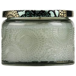 Voluspa French Cade and Lavender Petite Embossed Glass Jar Candle, 3.2 oz.