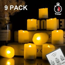 BEICHI 9 PCS Remote Control Flameless LED Votive Candles with Timer, Flickering Battery Operated ...