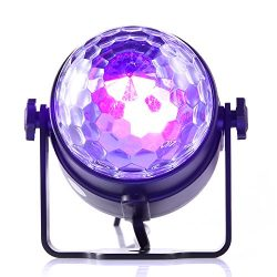 Gledto Disco Party Lights DJ Blacklight, 3 LED Mini Portable Stage Light Sound Activated Strobe  ...