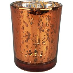 Just Artifacts Mercury Glass Votive Candle Holders 2.75″H Speckled Copper (Set of 12) R ...