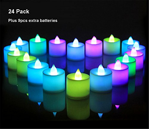 24 pack flameless tealight candles color changing battery operated led tea lights electronic. Black Bedroom Furniture Sets. Home Design Ideas