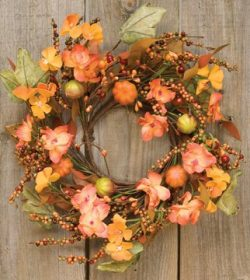 Harvest Garden Ring Mini Wreath Fall Flowers Mini Pumpkins Leaves Berries Country Primitive Flor ...