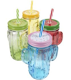 4-Pack Mason Jars – Colorful Mason Jar Set with Decorative Lids and Plastic Straws, Glass, ...